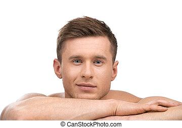 sopra, giovane, isolato, dall'aspetto, macchina fotografica, fondo, ritratto, sexy, bianco, man., bello
