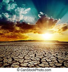 sopra, globale, warming., drammatico, tramonto, terra, fesso