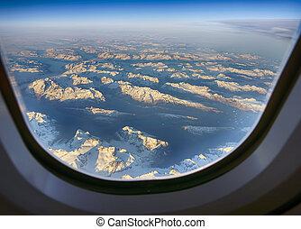 sopra, groenlandia, volo, picchi, nevoso