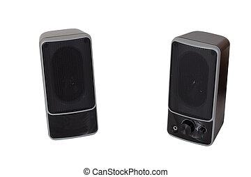 sopra, isolato, due, nero, bianco, speaker.