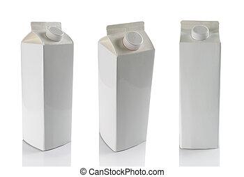 sopra, isolato, scatole, fondo, bianco, latte