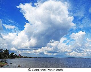 sopra, lago, nuvola