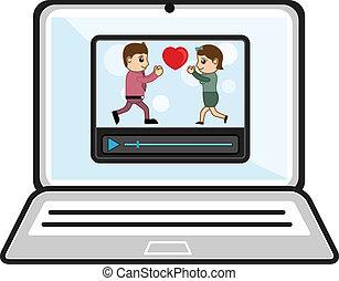 sopra, laptop, videi, osservare