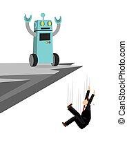 sopra, lavoro, presa, preso, intelligenza, lavoratore, futuro, cliff., lancio, ufficio, depicts, lui, robot, market., artificiale, spento