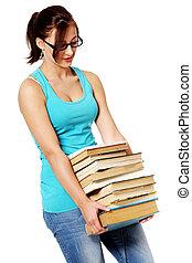sopra, libri, giovane ragazza, white.