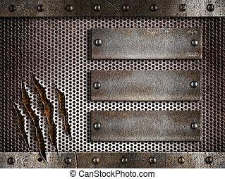 sopra, metallo, tre, arrugginito, sfondo griglia, perforato, piastre, holed, o