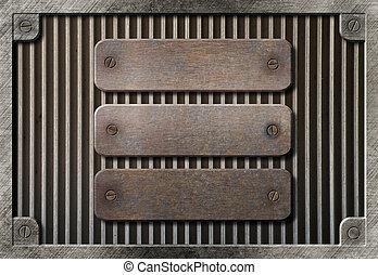 sopra, metallo, tre, arrugginito, sfondo griglia, piastre