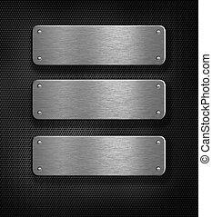 sopra, metallo, tre, sfondo griglia, piastre
