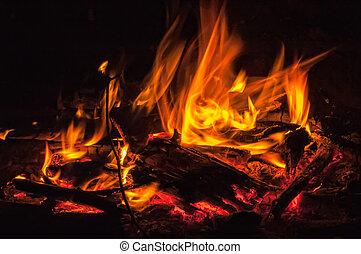 sopra, nero, fiamme, fondo, rosso