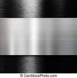 sopra, nero, metallo, fondo, piastra, spazzolato, alluminio