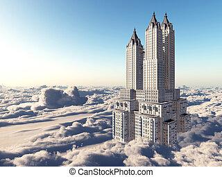 sopra, nubi, grattacielo