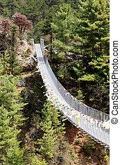 sopra, orientale, kosi, nepal, fiume, ponte, dudh, appendere
