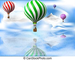 sopra, palloni, mare