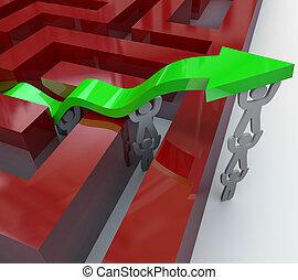 sopra, pareti, freccia, squadra, labirinto, sollevamento