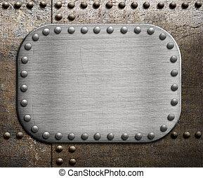sopra, piastra metallo, arrugginito, ruvido, metallico, fondo.