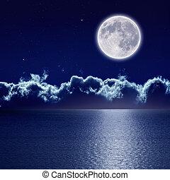 sopra, pieno, mare, luna