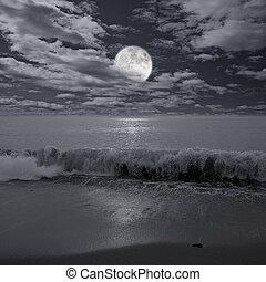 sopra, pieno, ocean., luna