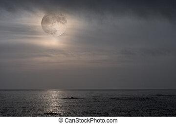 sopra, pieno, salita, mare, luna