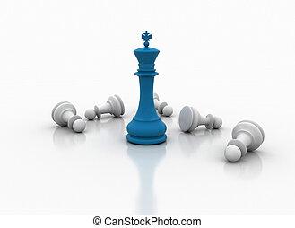 sopra, re, -, gioco, scacchi, standing