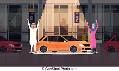 sopra, set, centro, vechicles, automobile, coppia, venditore, arabo, concessionario, presentare, nuovo, orizzontale, bandiera, sala esposizione
