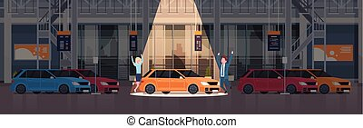 sopra, set, centro, vechicles, automobile, coppia, venditore, concessionario, presentare, nuovo, orizzontale, bandiera, sala esposizione