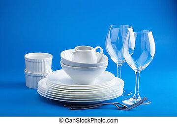 sopra, sfondo blu, tableware, bianco