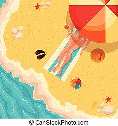 sopra, soleggiato, riva, mare, ragazza, vacanza, vista