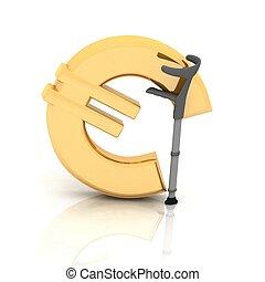 sopra, sostenuto, segno, stampella, fondo, euro, bianco