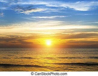 sopra, spiaggia., tramonto, strabiliante, oceano