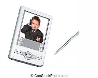 &, sopra, stilo, telefono, macchina fotografica, digitale, bianco, bambino primi passi, pda