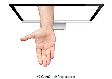 sopra, topview, isolato, mano, computer, palma, fondo, venuta, maschio bianco, schermo, fuori