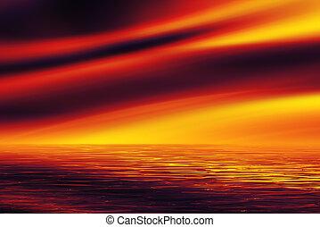 sopra, tramonto, mar rosso