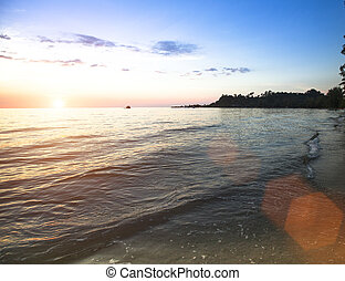 sopra, tramonto, ocean.