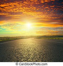 sopra, tramonto, strada asfaltata, rosso