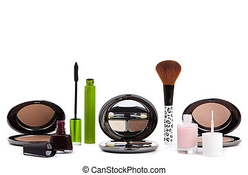 sopra, trucco, isolato, prodotti, cosmetica, vario, white.