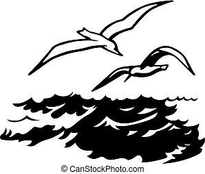 sopra, uccelli, mare
