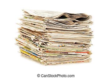 sopra, vario, fondo, giornali, bianco