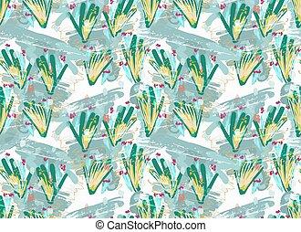 sopra, verde, spazzola, floreale, ruvido, fiori
