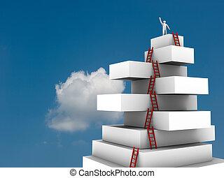 sopra, virtuale, salto, uomo affari, torre, 3d