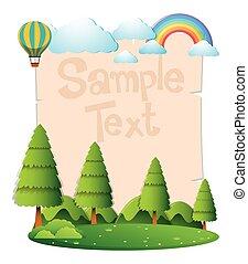 sopra, volare, carta, foresta, sagoma, palloni