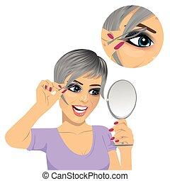 sopracciglia, donna, lei, giovane, strappando, dall'aspetto, specchio, pinzette