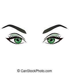 sopracciglia, occhi, realistico, vettore, verde, femmina, cartone animato