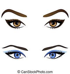 sopracciglia, occhi, set, realistico, vettore, femmina, cartone animato