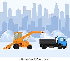 soprador, rua, remoção, carregando, trabalho, vetorial, pilha, limpo, lorry., dois, road., neve, illustration., máquina, grande, remover, cidade