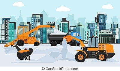 sopradores, megapolis, truck., neve, vetorial, illustration., cidade, grande, pequeno, tipper, máquinas, diferente, edifícios, tem rodas, experiência., camião, removendo, inverno