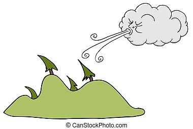 soprando, árvores, ventoso, vento, dia, nuvem