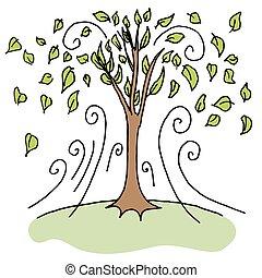 soprando, desligado, rajada, folhas, árvores, dia ventoso, cima