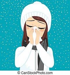 soprando, gripe, inverno, nariz