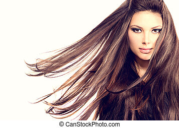 soprando, longo, cabelo, moda, Retrato, modelo, menina