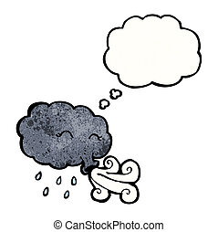 soprando, nuvem tempestade, vento, caricatura